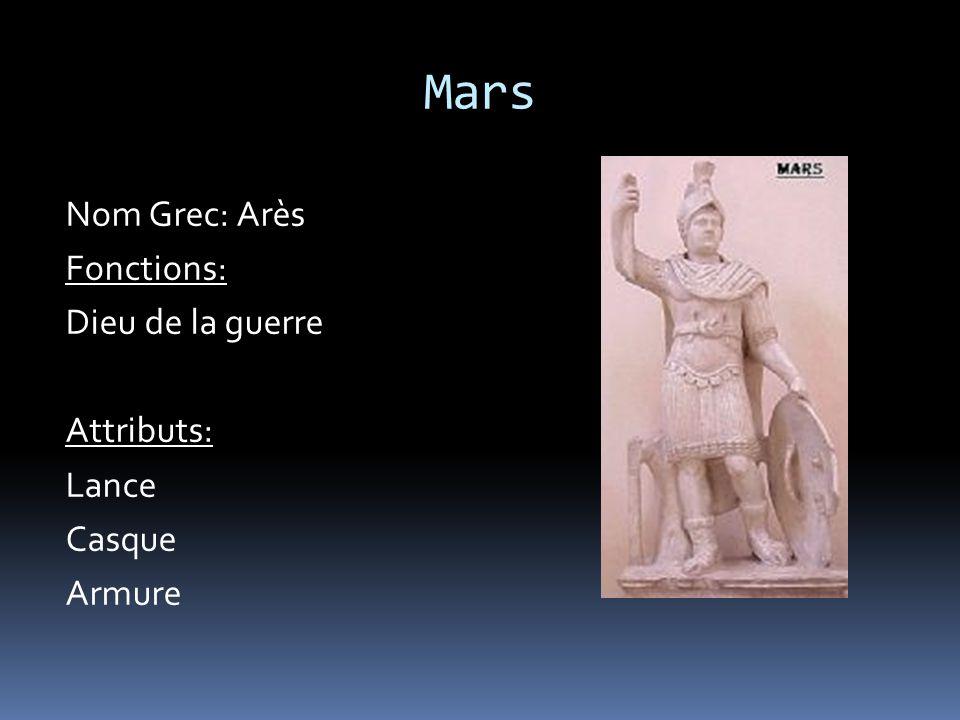 Mars Nom Grec: Arès Fonctions: Dieu de la guerre Attributs: Lance Casque Armure