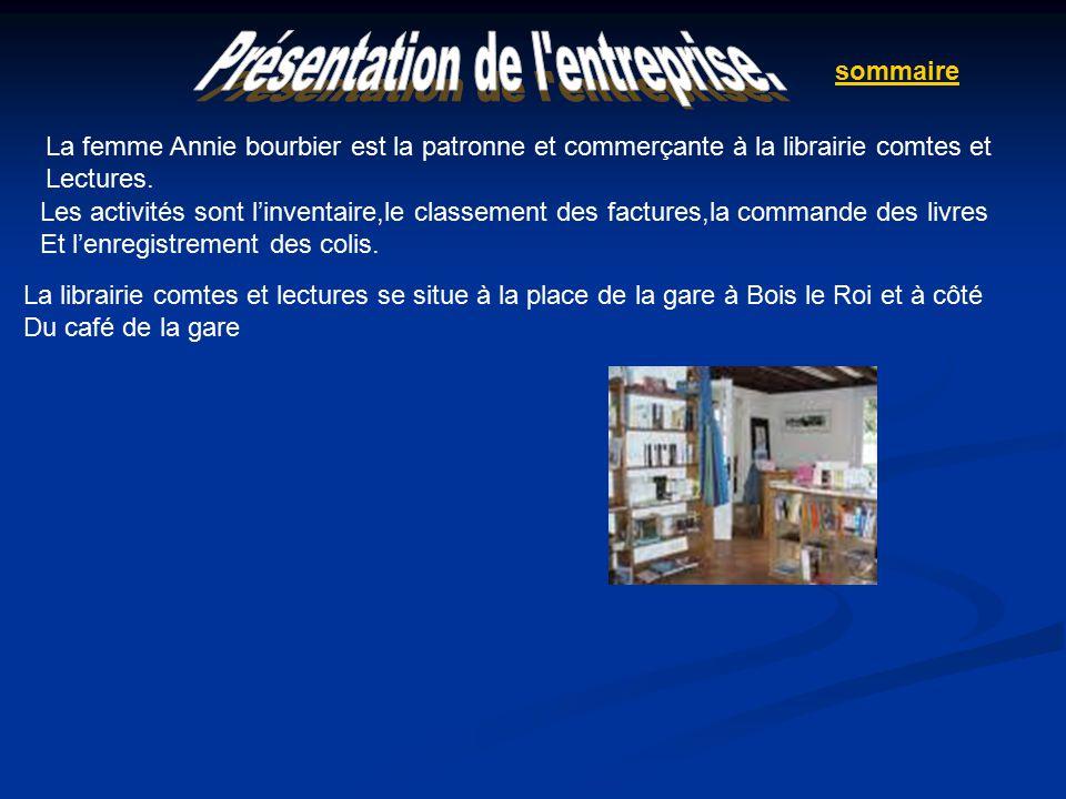 La librairie comtes et lectures se situe à la place de la gare à Bois le Roi et à côté Du café de la gare Les activités sont l'inventaire,le classement des factures,la commande des livres Et l'enregistrement des colis.