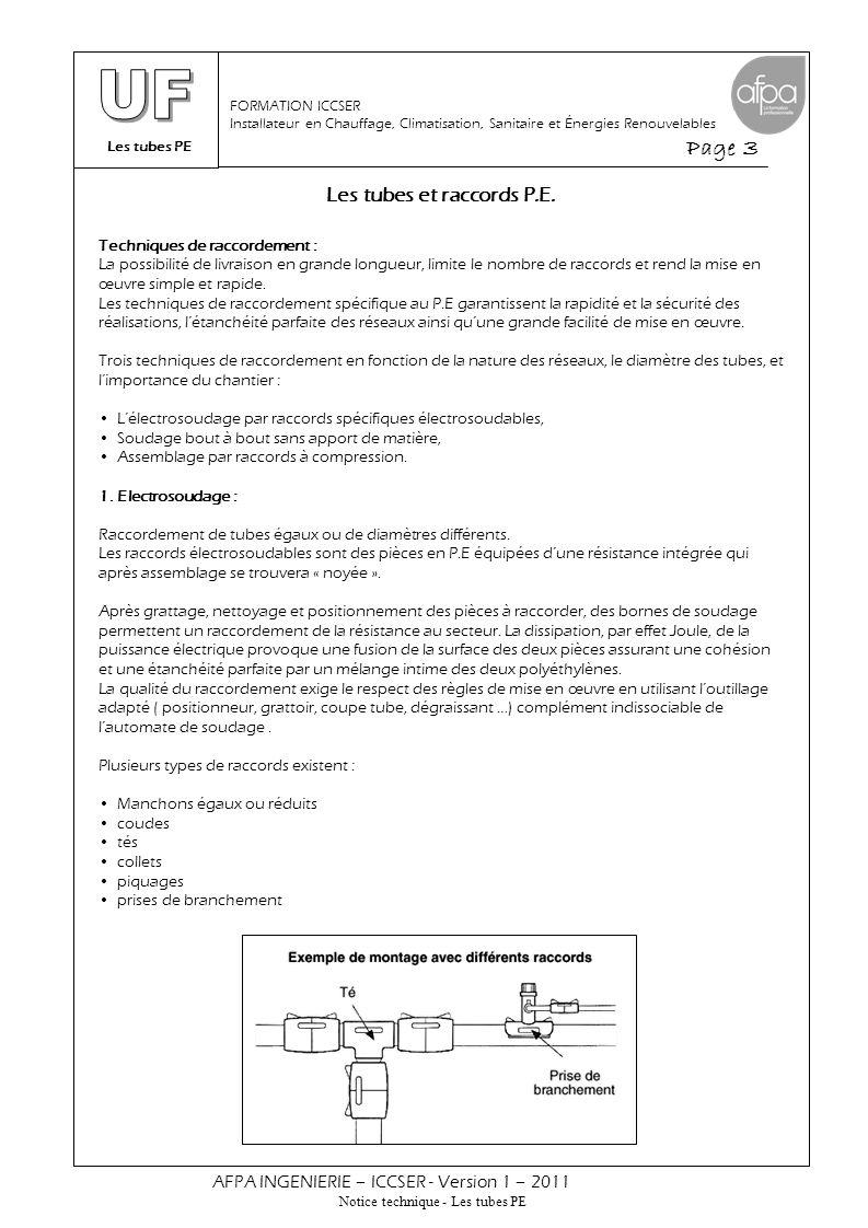 Les tubes PE Page 3 AFPA INGENIERIE – ICCSER - Version 1 – 2011 Notice technique - Les tubes PE FORMATION ICCSER Installateur en Chauffage, Climatisat