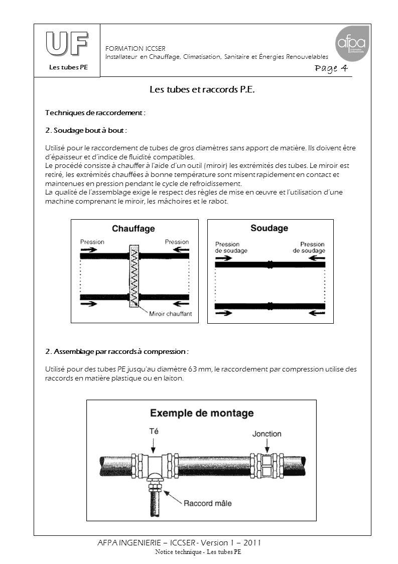 Les tubes PE Page 4 AFPA INGENIERIE – ICCSER - Version 1 – 2011 Notice technique - Les tubes PE FORMATION ICCSER Installateur en Chauffage, Climatisat