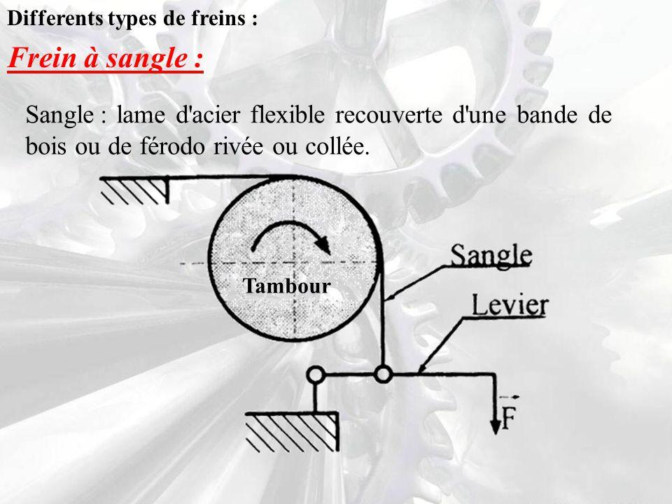 Differents types de freins : Frein à sangle : Sangle : lame d acier flexible recouverte d une bande de bois ou de férodo rivée ou collée.