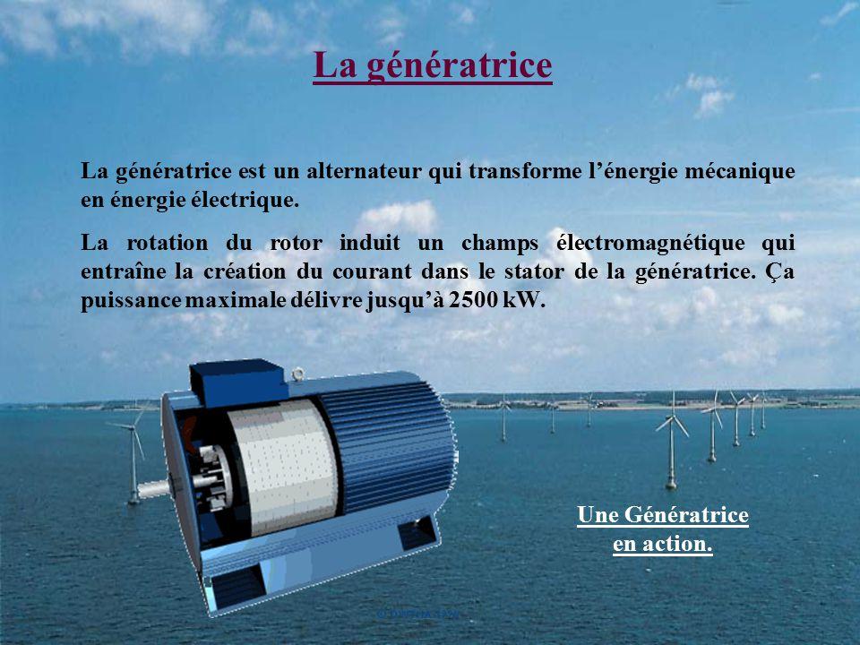 La génératrice La génératrice est un alternateur qui transforme l'énergie mécanique en énergie électrique. La rotation du rotor induit un champs élect