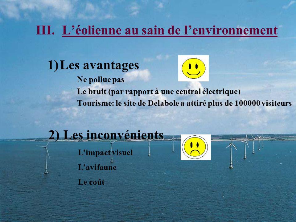 III.L'éolienne au sain de l'environnement 1)Les avantages Ne pollue pas Le bruit (par rapport à une central électrique) Tourisme: le site de Delabole