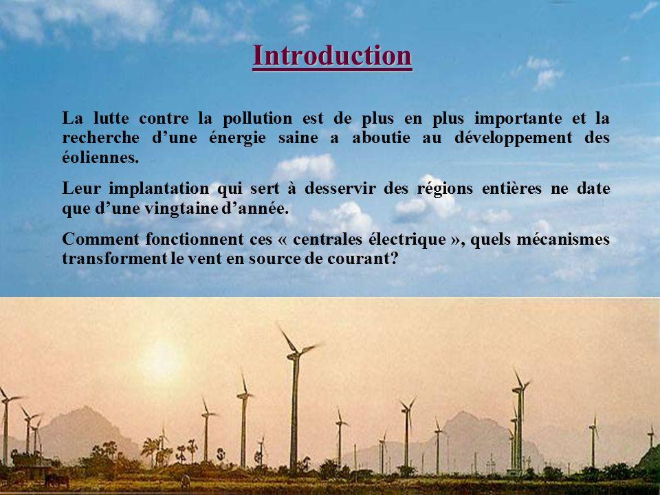 Introduction La lutte contre la pollution est de plus en plus importante et la recherche d'une énergie saine a aboutie au développement des éoliennes.