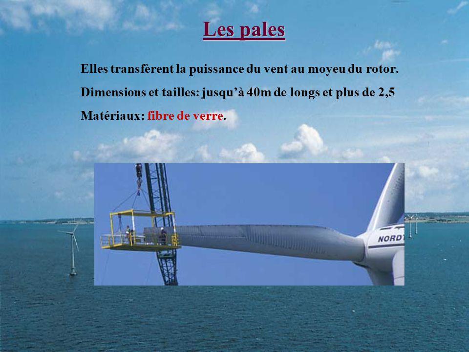 Les pales Elles transfèrent la puissance du vent au moyeu du rotor. Dimensions et tailles: jusqu'à 40m de longs et plus de 2,5 Matériaux: fibre de ver