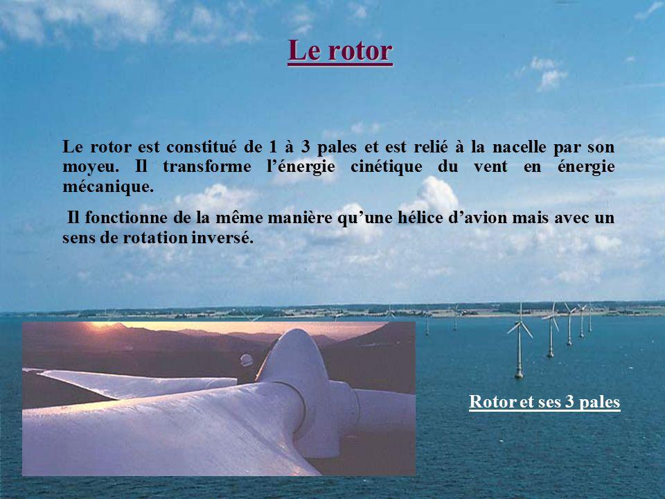 Le rotor Le rotor est constitué de 1 à 3 pales et est relié à la nacelle par son moyeu. Il transforme l'énergie cinétique du vent en énergie mécanique