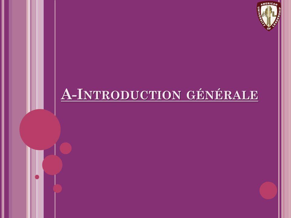 A-I NTRODUCTION GÉNÉRALE