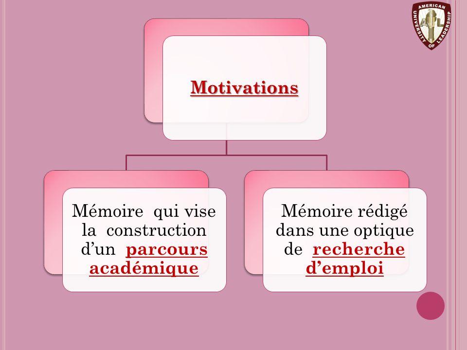 Motivations Mémoire qui vise la construction d'un parcours académique Mémoire rédigé dans une optique de recherche d'emploi