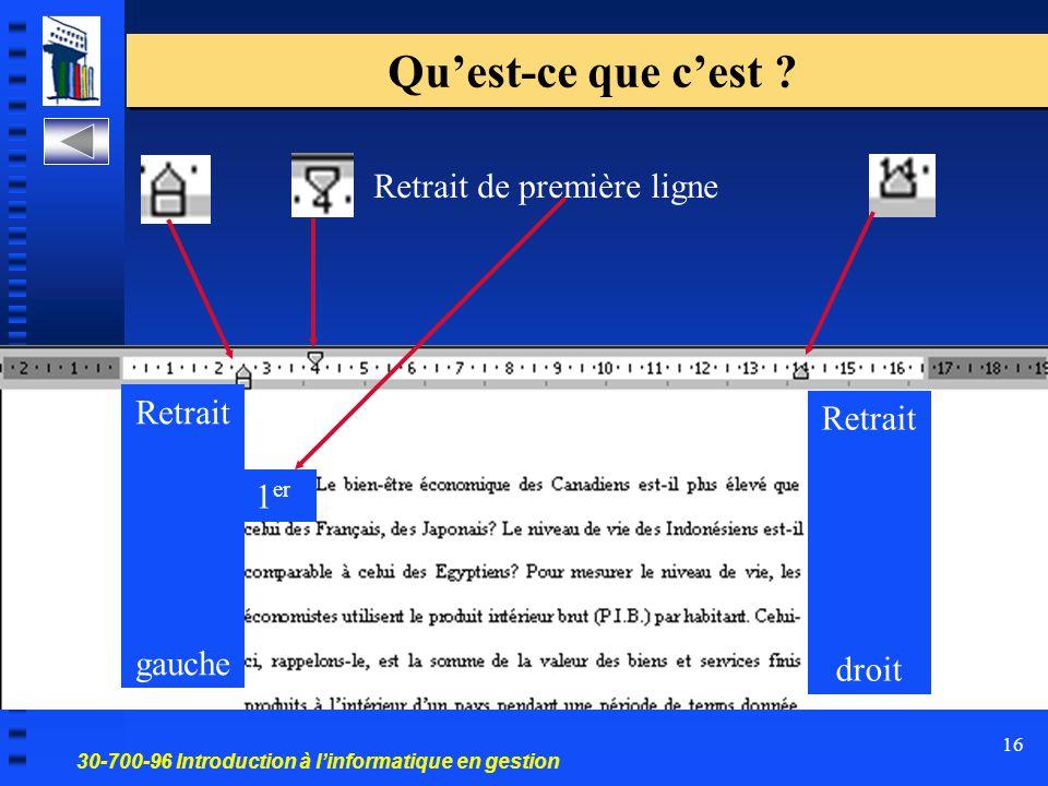 30-700-96 Introduction à l'informatique en gestion 16 Qu'est-ce que c'est ? Retrait gauche Retrait droit Retrait de première ligne 1 er
