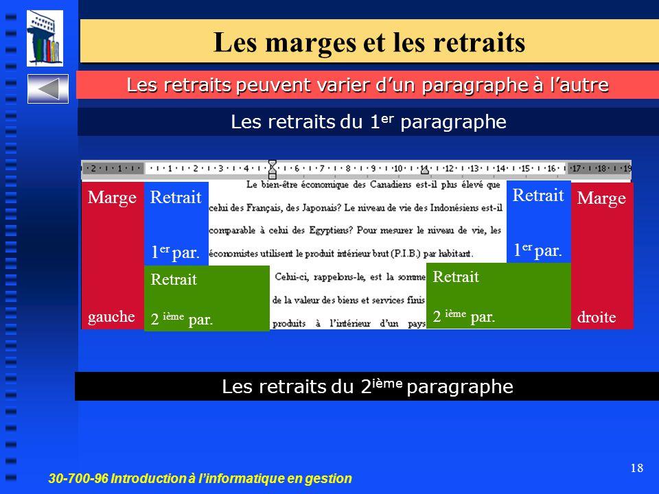 30-700-96 Introduction à l'informatique en gestion 18 Les marges et les retraits Les retraits peuvent varier d'un paragraphe à l'autre Marge gauche Marge droite Retrait 1 er par.