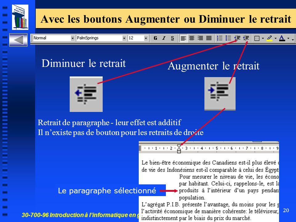 30-700-96 Introduction à l'informatique en gestion 20 Avec les boutons Augmenter ou Diminuer le retrait Retrait de paragraphe - leur effet est additif
