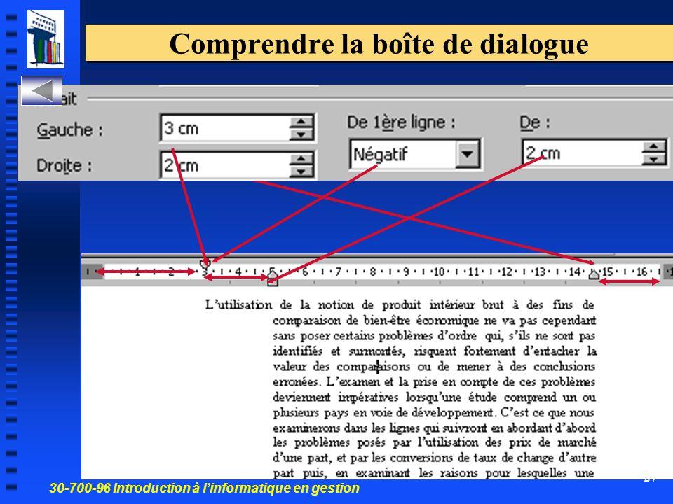 30-700-96 Introduction à l'informatique en gestion 27 Comprendre la boîte de dialogue