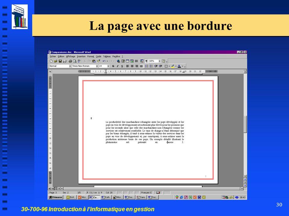 30-700-96 Introduction à l'informatique en gestion 31 Tout le document