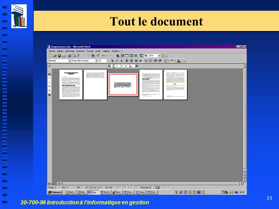 30-700-96 Introduction à l'informatique en gestion 31 Tout le document