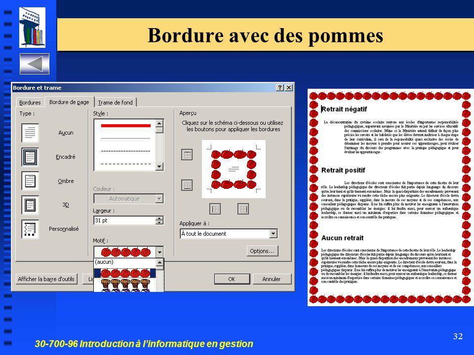 30-700-96 Introduction à l'informatique en gestion 32 Bordure avec des pommes
