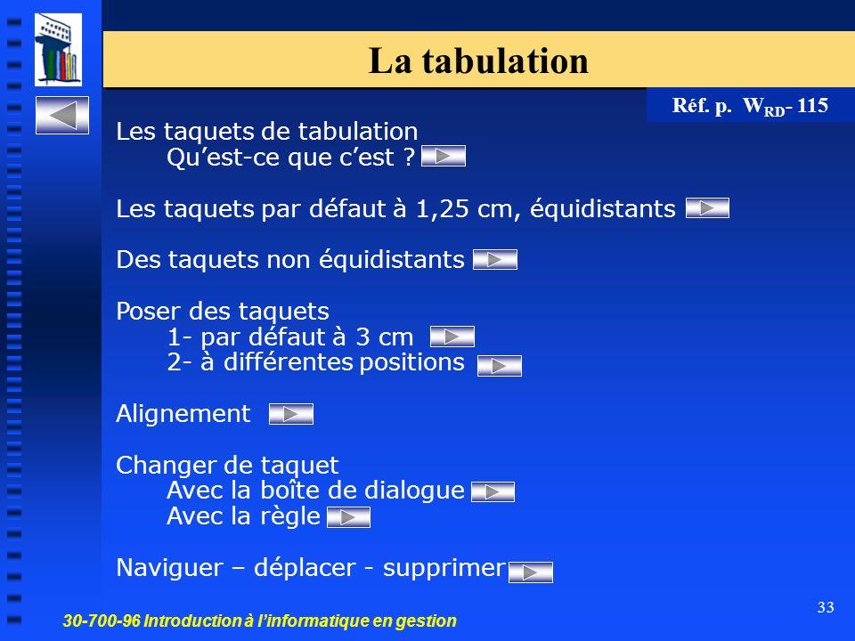30-700-96 Introduction à l'informatique en gestion 33 La tabulation Les taquets de tabulation Qu'est-ce que c'est ? Les taquets par défaut à 1,25 cm,