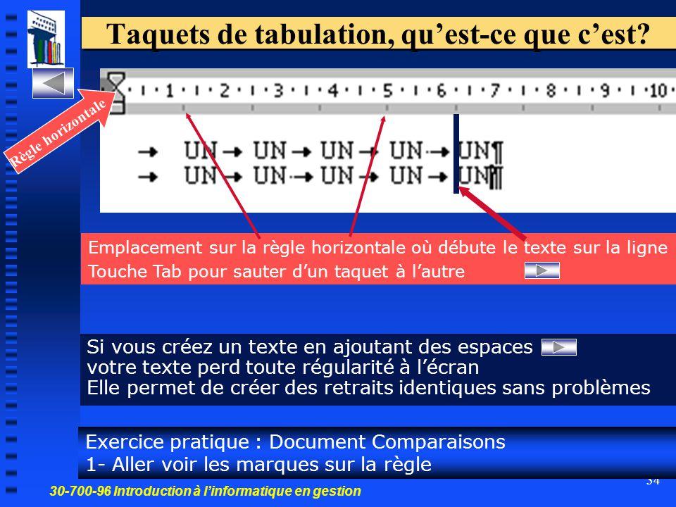30-700-96 Introduction à l'informatique en gestion 34 Taquets de tabulation, qu'est-ce que c'est? Si vous créez un texte en ajoutant des espaces votre