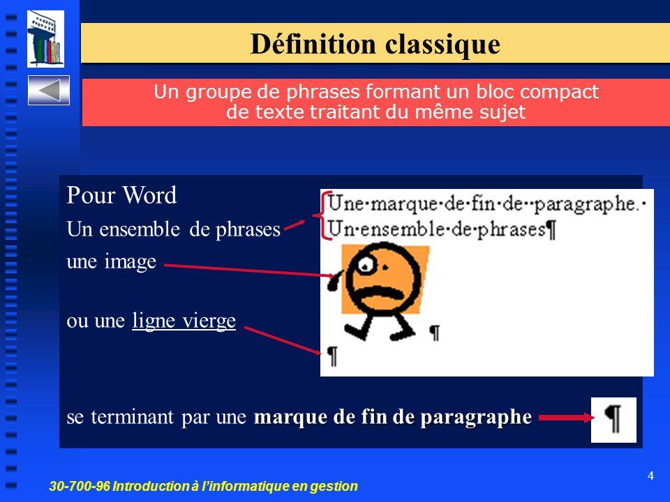 30-700-96 Introduction à l'informatique en gestion 4 Définition classique Pour Word Un ensemble de phrases une image ou une ligne vierge marque de fin