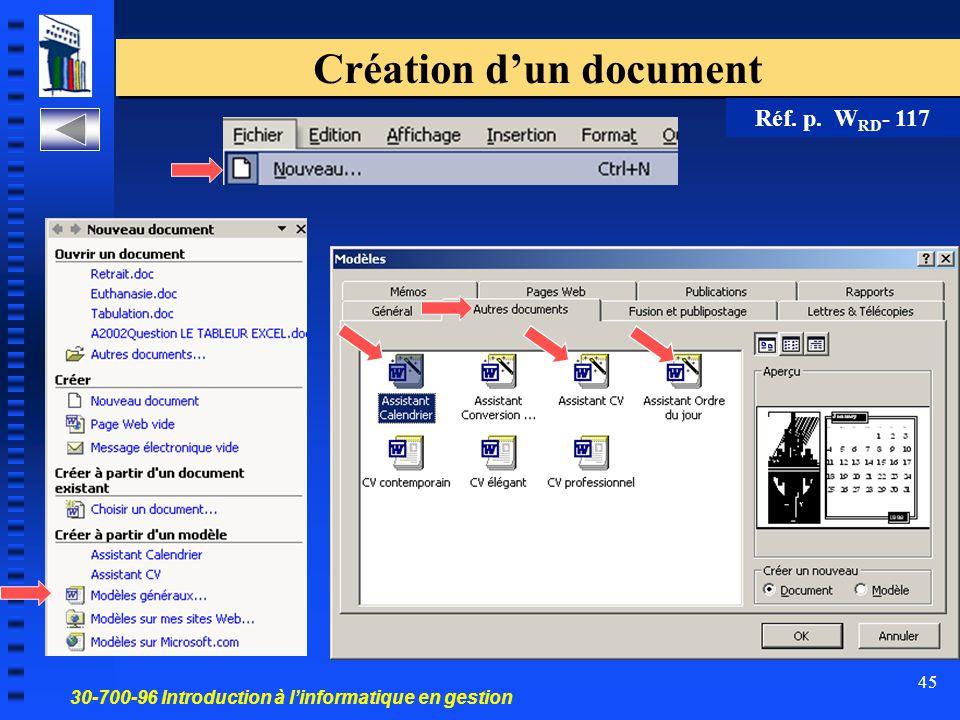 30-700-96 Introduction à l'informatique en gestion 45 Création d'un document Réf. p. W RD - 117