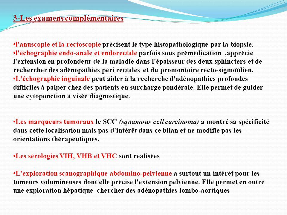 3-Les examens complémentaires l anuscopie et la rectoscopie précisent le type histopathologique par la biopsie.