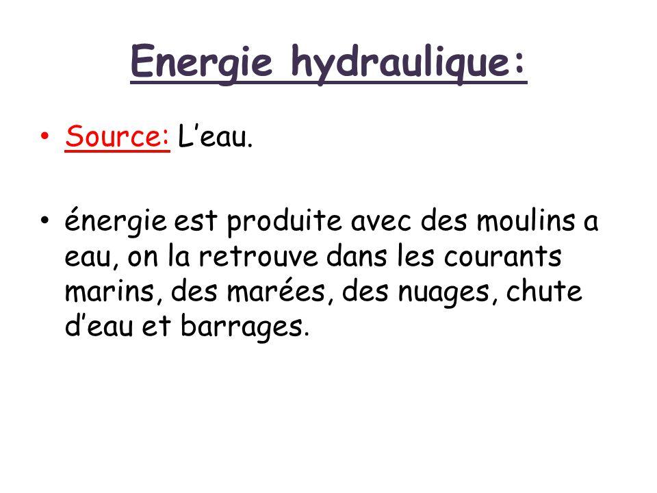 Energie hydraulique: Source: L'eau. énergie est produite avec des moulins a eau, on la retrouve dans les courants marins, des marées, des nuages, chut