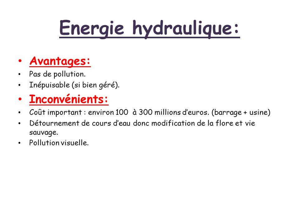 Energie hydraulique: Avantages: Pas de pollution. Inépuisable (si bien géré). Inconvénients: Coût important : environ 100 à 300 millions d'euros. (bar