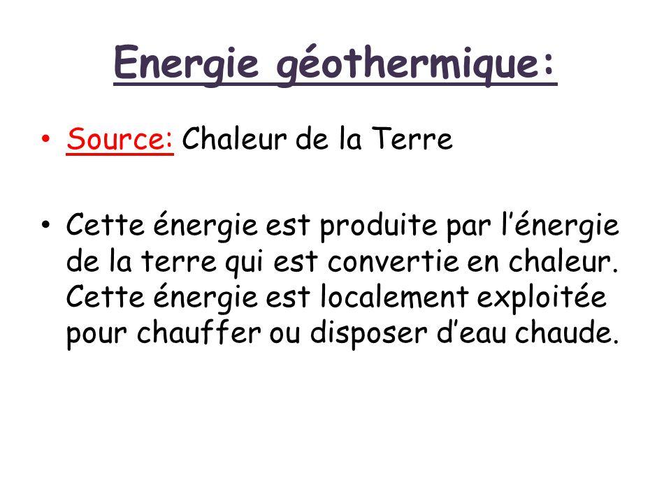 Energie géothermique: Source: Chaleur de la Terre Cette énergie est produite par l'énergie de la terre qui est convertie en chaleur. Cette énergie est