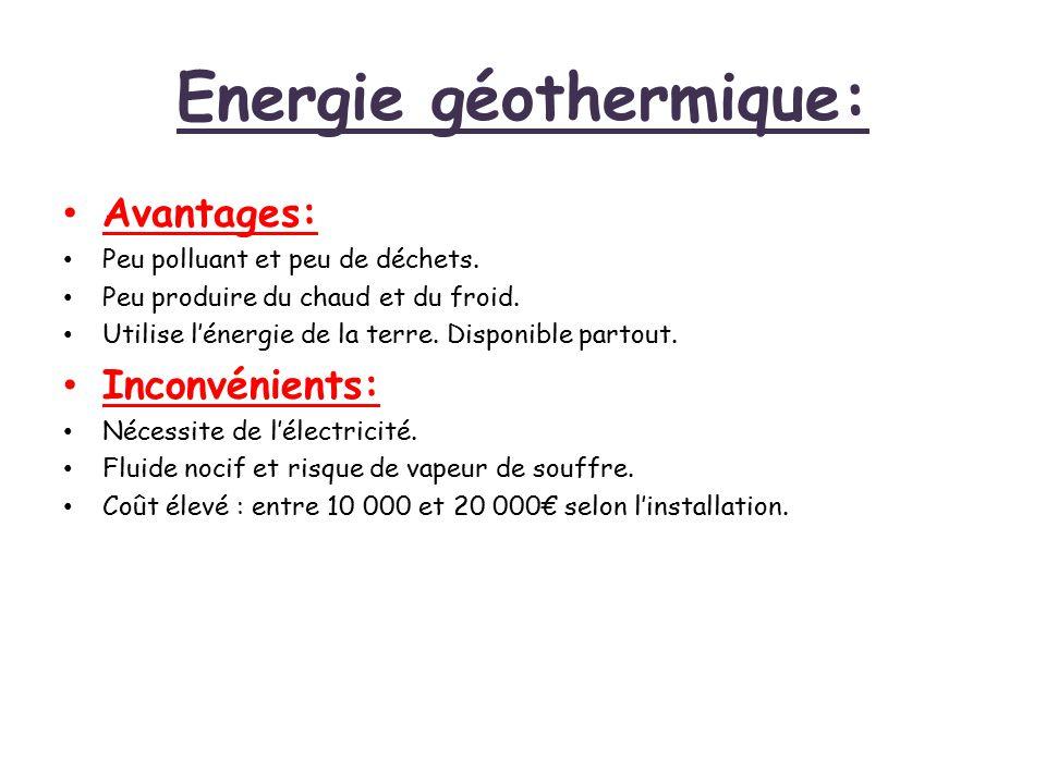 Energie géothermique: Avantages: Peu polluant et peu de déchets. Peu produire du chaud et du froid. Utilise l'énergie de la terre. Disponible partout.