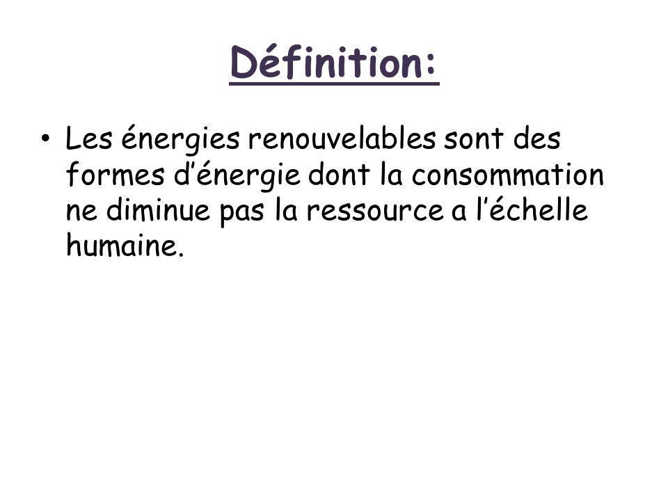 Définition: Les énergies renouvelables sont des formes d'énergie dont la consommation ne diminue pas la ressource a l'échelle humaine.
