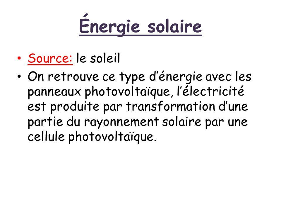 Énergie solaire Source: le soleil On retrouve ce type d'énergie avec les panneaux photovoltaïque, l'électricité est produite par transformation d'une