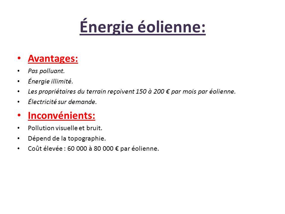 Énergie éolienne: Avantages: Pas polluant. Énergie illimité. Les propriétaires du terrain reçoivent 150 à 200 € par mois par éolienne. Électricité sur