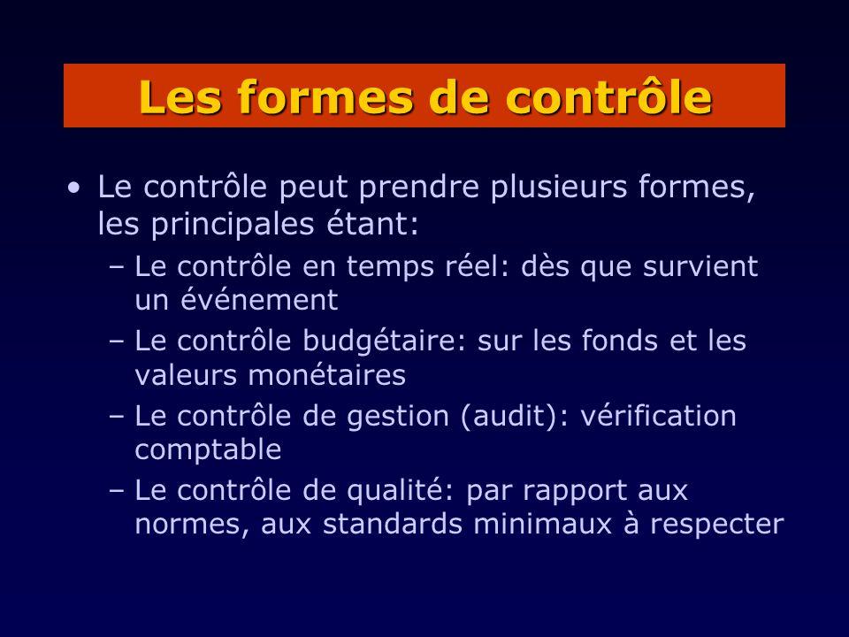 Le contrôle peut prendre plusieurs formes, les principales étant: –Le contrôle en temps réel: dès que survient un événement –Le contrôle budgétaire: sur les fonds et les valeurs monétaires –Le contrôle de gestion (audit): vérification comptable –Le contrôle de qualité: par rapport aux normes, aux standards minimaux à respecter Les formes de contrôle