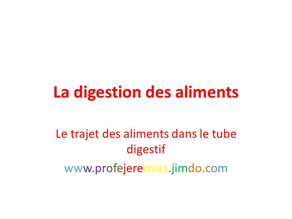 La digestion des aliments Le trajet des aliments dans le tube digestif www.profejeremias.jimdo.com