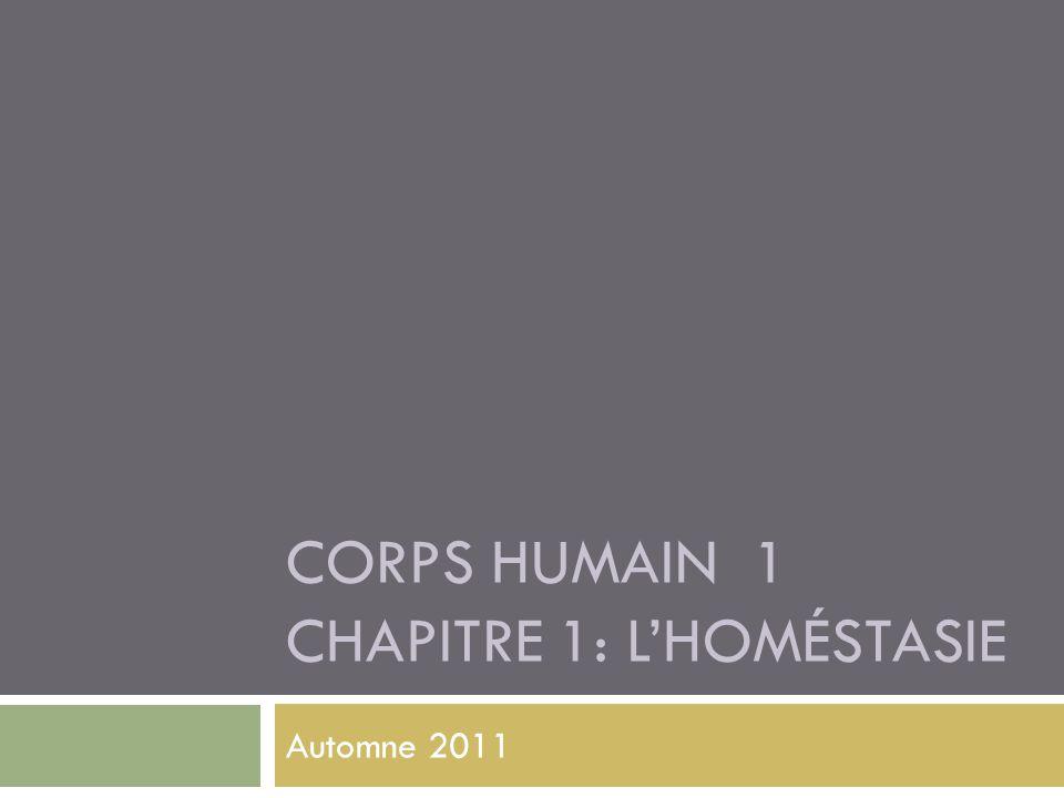 CORPS HUMAIN 1 CHAPITRE 1: L'HOMÉSTASIE Automne 2011