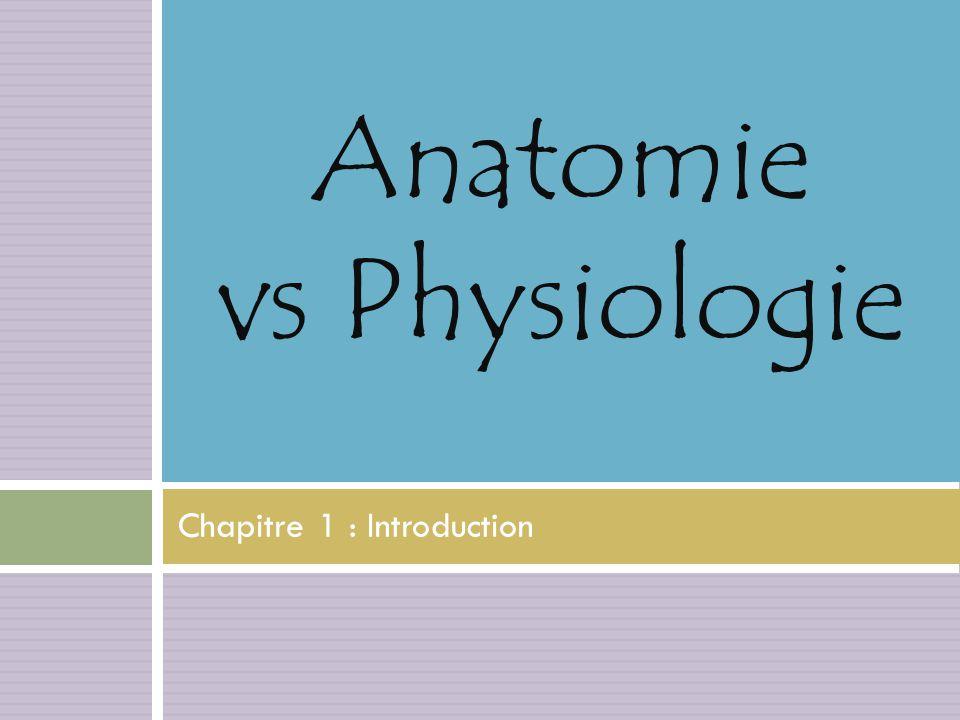 Chapitre 1 : Introduction Anatomie vs Physiologie