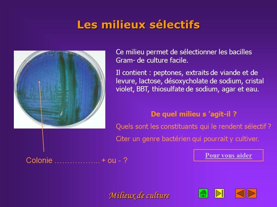 Milieux de culture Les milieux sélectifs Ce milieu permet de sélectionner les bacilles Gram- de culture facile.