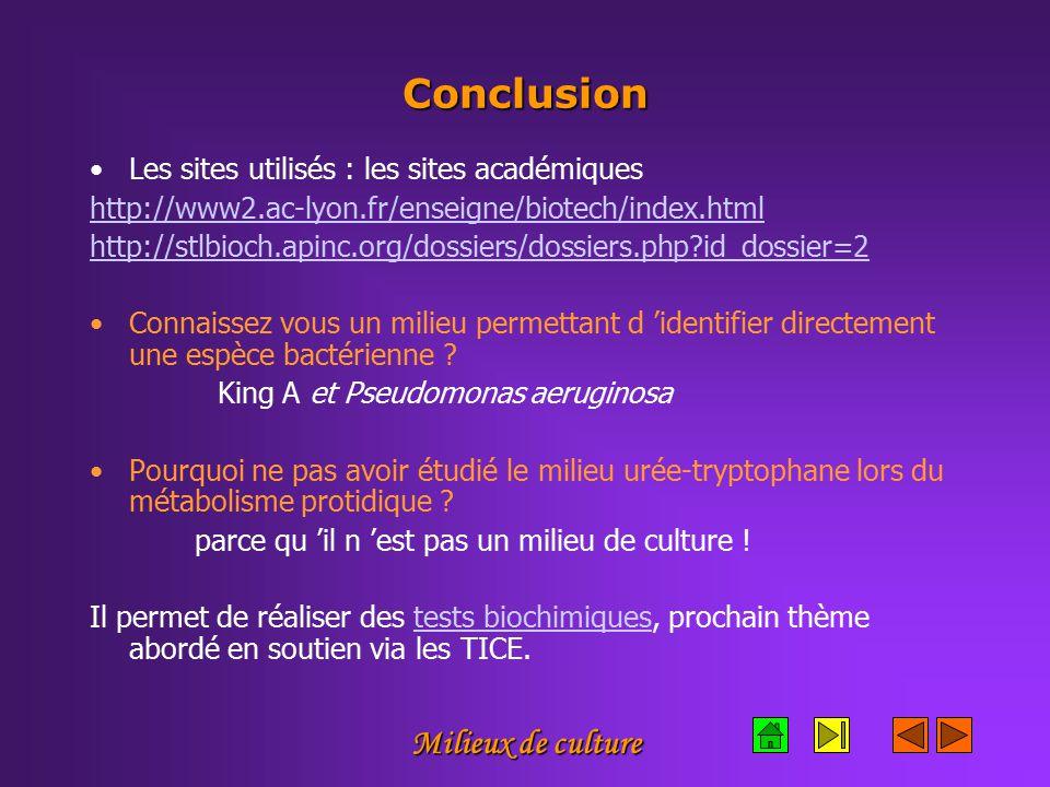 Milieux de culture Conclusion Les sites utilisés : les sites académiques http://www2.ac-lyon.fr/enseigne/biotech/index.html http://stlbioch.apinc.org/dossiers/dossiers.php?id_dossier=2 Connaissez vous un milieu permettant d 'identifier directement une espèce bactérienne .