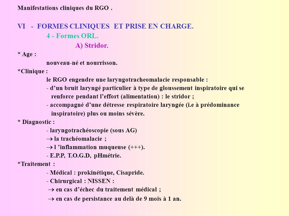 Manifestations cliniques du rgo. vi - formes cliniques et prise en