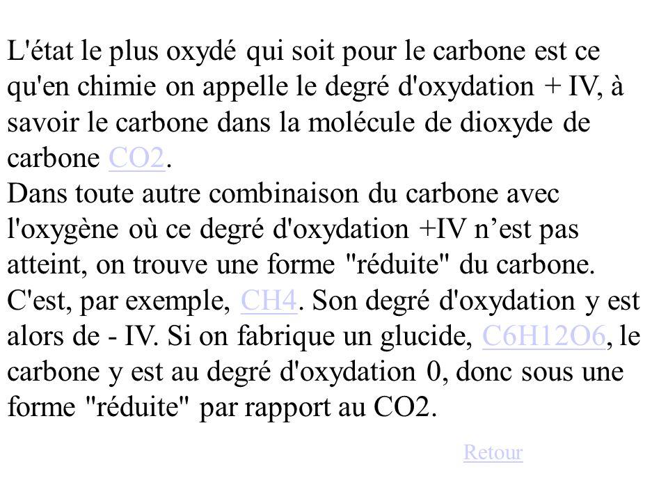 L état le plus oxydé qui soit pour le carbone est ce qu en chimie on appelle le degré d oxydation + IV, à savoir le carbone dans la molécule de dioxyde de carbone CO2.