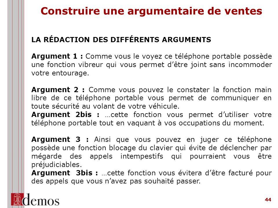 44 LA RÉDACTION DES DIFFÉRENTS ARGUMENTS Argument 1 : Comme vous le voyez ce téléphone portable possède une fonction vibreur qui vous permet d'être joint sans incommoder votre entourage.