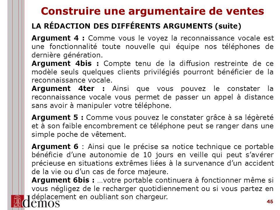 45 LA RÉDACTION DES DIFFÉRENTS ARGUMENTS (suite) Argument 4 : Comme vous le voyez la reconnaissance vocale est une fonctionnalité toute nouvelle qui équipe nos téléphones de dernière génération.