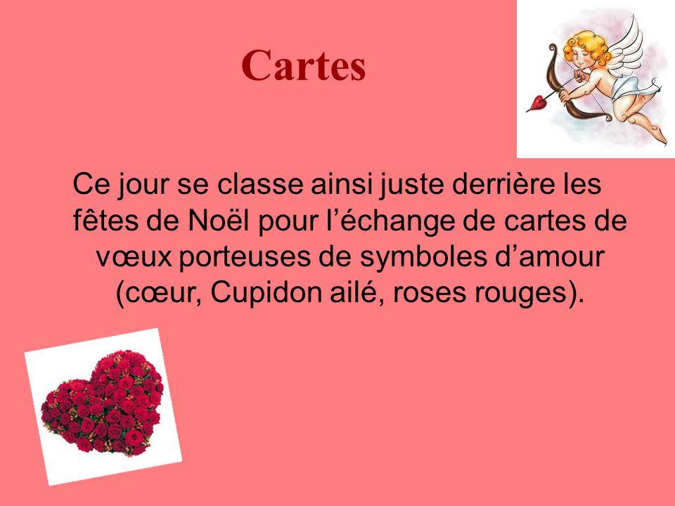 Cartes Ce jour se classe ainsi juste derrière les fêtes de Noël pour l'échange de cartes de vœux porteuses de symboles d'amour (cœur, Cupidon ailé, roses rouges).
