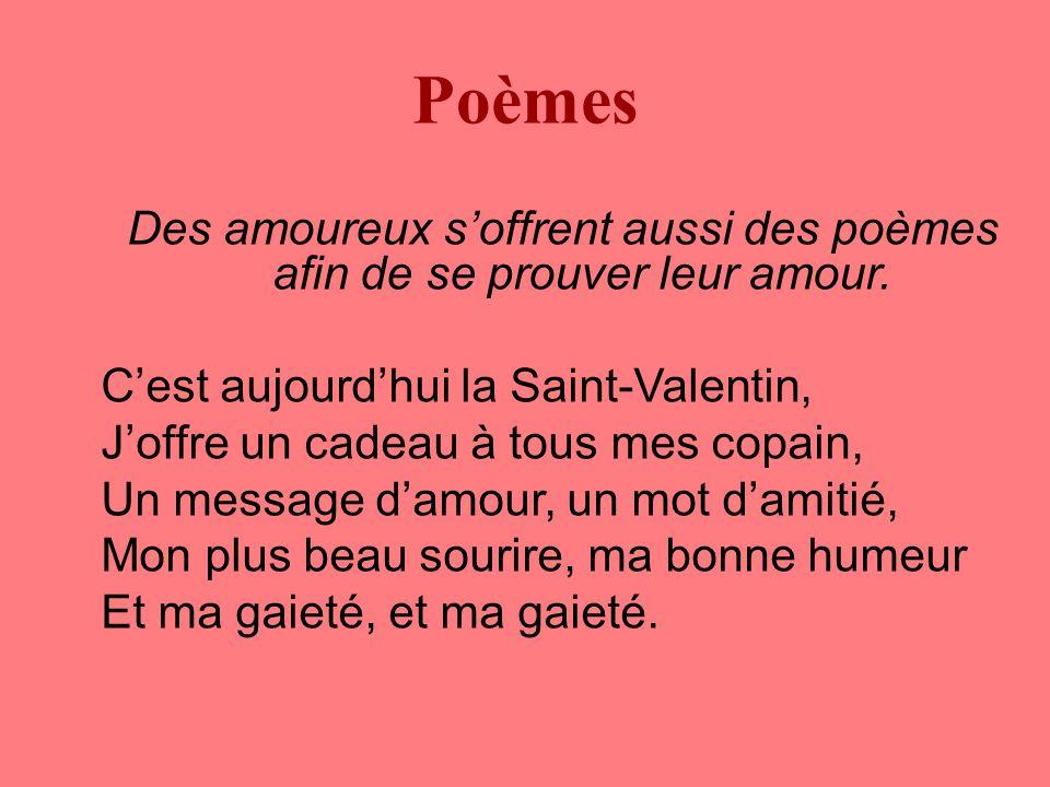 Poèmes Des amoureux s'offrent aussi des poèmes afin de se prouver leur amour.