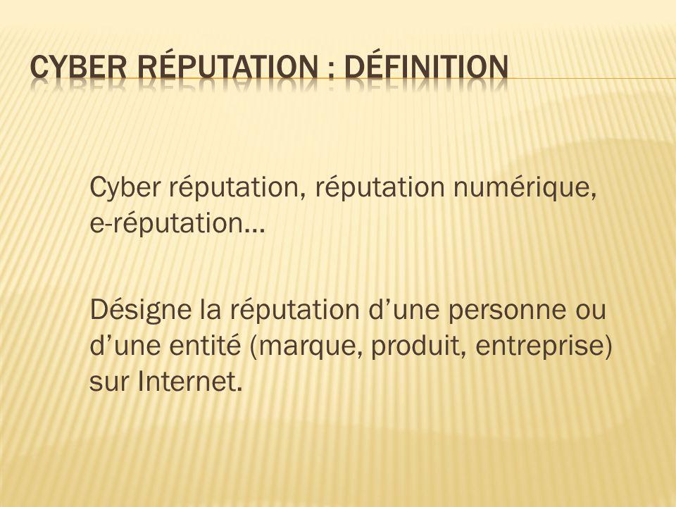 Cyber réputation, réputation numérique, e-réputation… Désigne la réputation d'une personne ou d'une entité (marque, produit, entreprise) sur Internet.