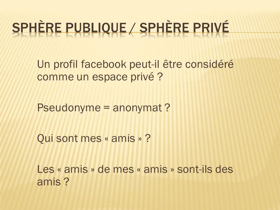 Un profil facebook peut-il être considéré comme un espace privé .