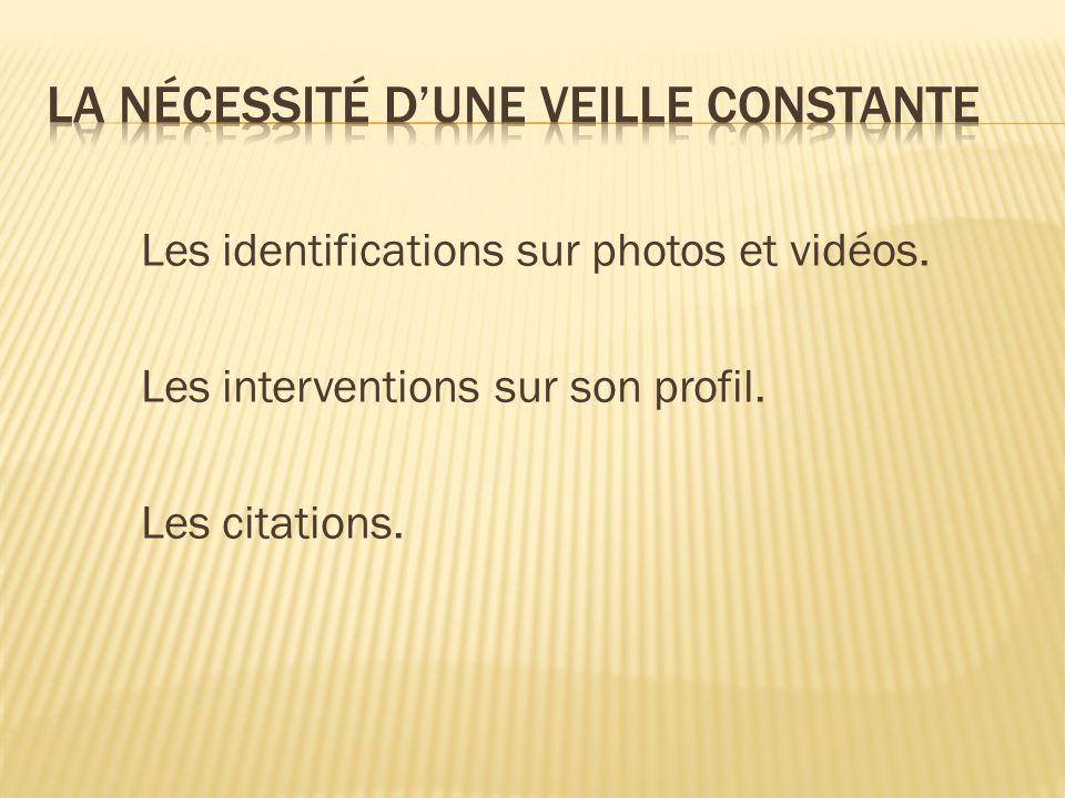 Les identifications sur photos et vidéos. Les interventions sur son profil. Les citations.
