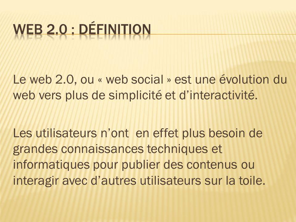 Le web 2.0, ou « web social » est une évolution du web vers plus de simplicité et d'interactivité.