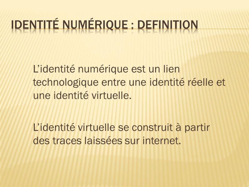L'identité numérique est un lien technologique entre une identité réelle et une identité virtuelle.