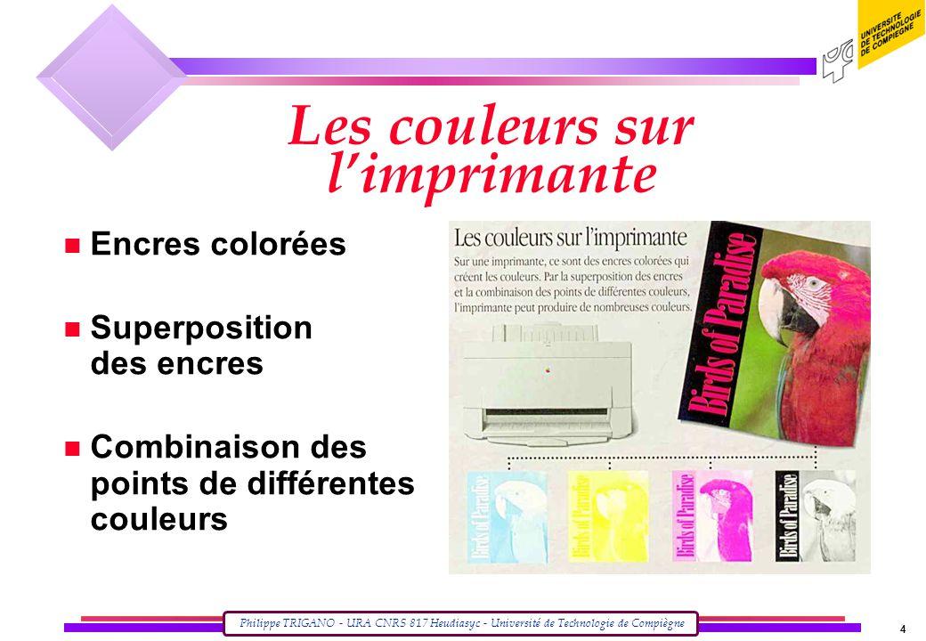 Philippe TRIGANO - URA CNRS 817 Heudiasyc - Université de Technologie de Compiègne 4 Les couleurs sur l'imprimante n Encres colorées n Superposition des encres n Combinaison des points de différentes couleurs