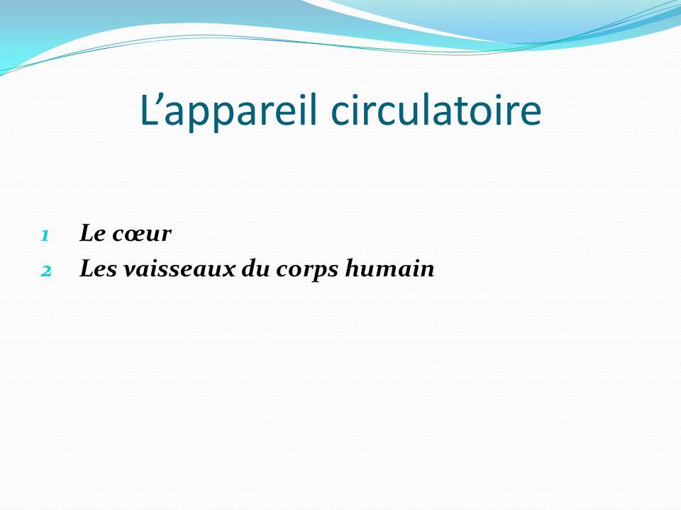 L'appareil circulatoire 1 Le cœur 2 Les vaisseaux du corps humain